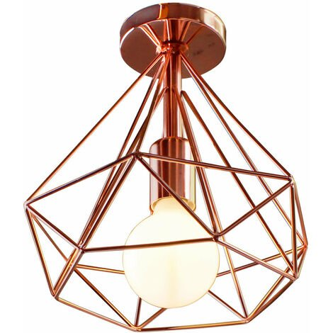 Morden Cage Ceiling Light,Industrial Metal Lamp Rose Gold for Loft Home Office Restaurant Cafe