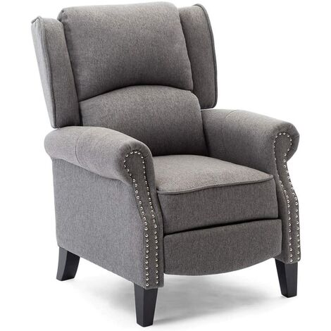 More4Homes CHARLOTTE MODERN FABRIC PUSHBACK RECLINER ARMCHAIR SOFA ACCENT CHAIR RECLINING