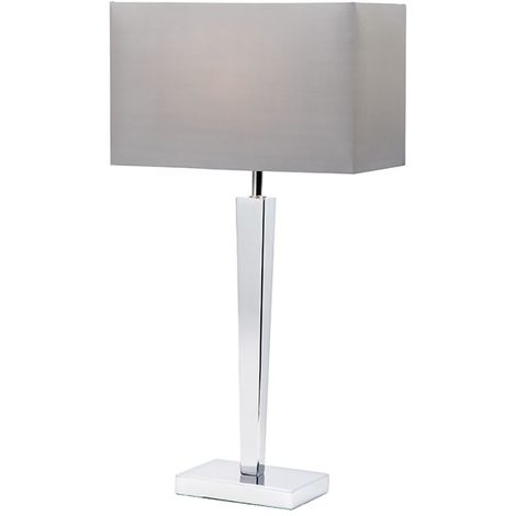 Moreto Table Lamp Chrome Plate Grey Faux Rectangular Silk Shade