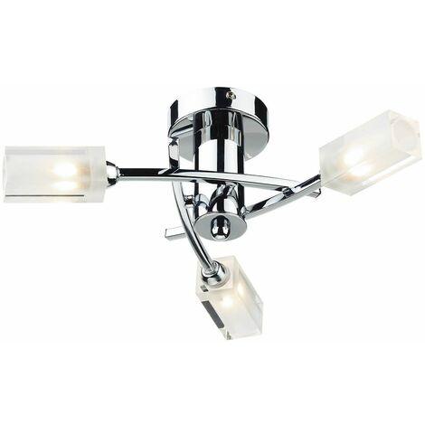 Morgan ceiling light polished chrome and glass 3 bulbs