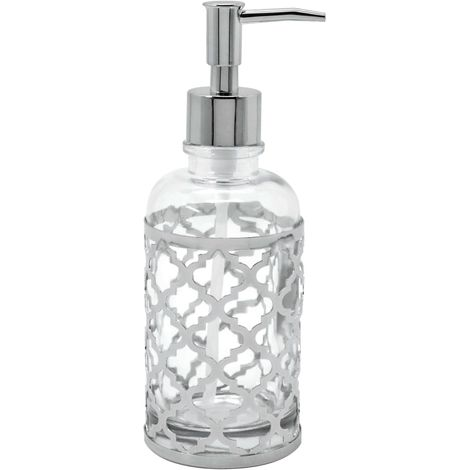 Moroccan Glass Soap Dispenser - Silver