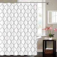 Moroccan Polyester Shower Curtain 1800mm x 1800mm - Metallic Silver