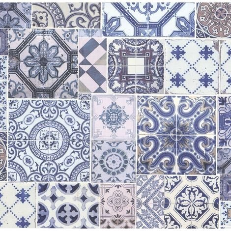 Moroccan Tile Effect Collage Wallpaper Ornaments Blue White Paste The Wall P+S
