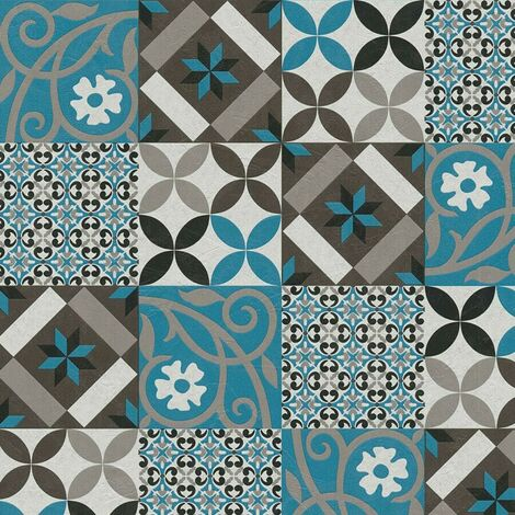 Moroccan Tile Effect Wallpaper AS Creation Blue Black Grey Mosaic Vinyl