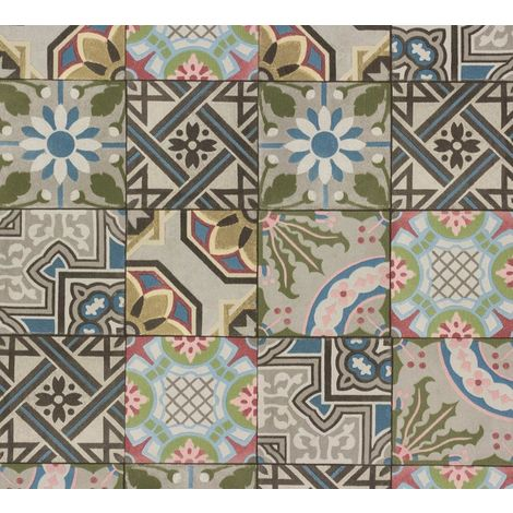 Moroccan Tile Effect Wallpaper Rasch Blue Grey Green Paste The Wall Vinyl