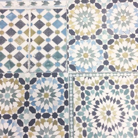 Moroccan Tile Teal Wallpaper Botanical Luxury Paste The Wall Vinyl Grandeco