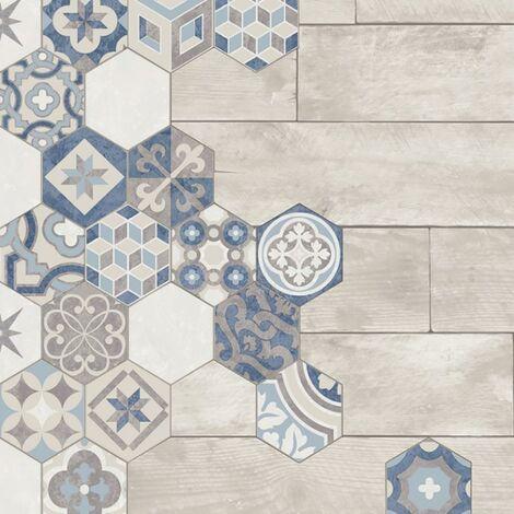 Moroccan Tile Wallpaper Muriva Wood Effect Hexagon Baroque Blue Grey Vinyl