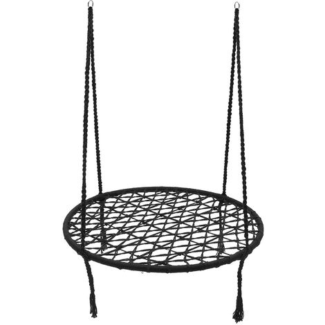Morocco Style Hanging Hammock Cotton Woven Cord Round Swing Patio Chair Seat