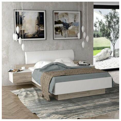 MOROLLA Lit 140x190 cm avec 2 chevets + tete de lit en simili - Blanc
