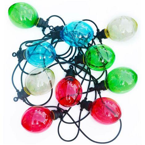 Morphée - Guirlande lumineuse guinguette extérieure de Noël avec 10 boules lumineuses, fonction timer