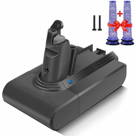 Morpilot Batterie de Remplacement pour Dyson V6 Séries, 21.6V 3000mAh Li-ion, avec 2PCS Pre Filtréries DC58 DC59 DC61 DC62 DC72 DC74