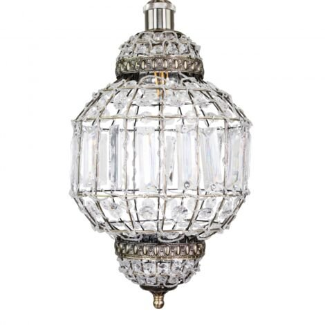 Morrocan Lantern Style Antique Brass Clear Acrylic Pendant Shade by Happy Homewares
