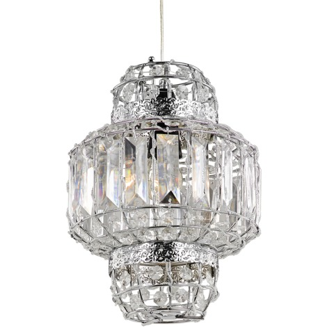 Morrocan Lantern Style Chrome and Clear Acrylic Pendant Shade by Happy Homewares