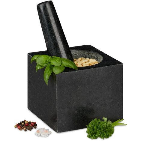 Mortier carré en granit avec pilon, robuste, épices, herbes, d. 250ml, 9,5x11x11 cm mortier pierre polie, gris