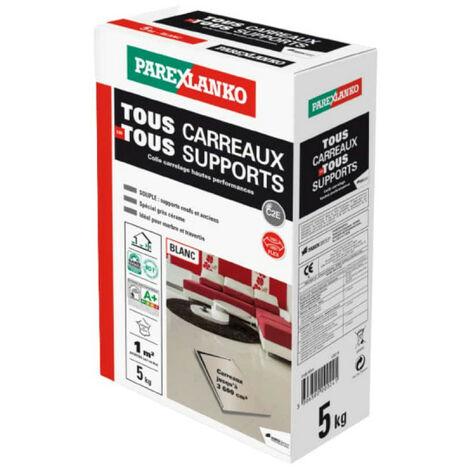 Mortier-colle amélioré PAREXLANKO Tout Carreaux Tout Support - Blanc - 5 kg - 02936 - Blanc