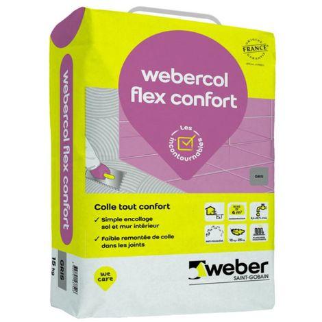Mortier-colle pour carrelage (C2 SI G) WEBER.COL FLEX CONFORT - Sac de 15 kg - GRIS