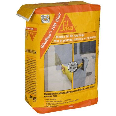 Mortier fin pour ragréages SIKA SikaRep 105 Clair - gris clair - 25 kg