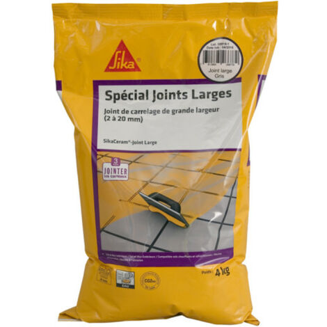 Mortier joint de carrelage grande largeur 2 à 20mm CG2W - SIKA SikaCeram Joint Large - Gris - 4kg