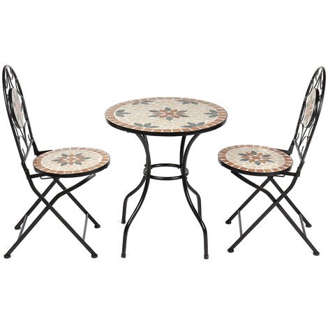 Mosaic Bistro Sets Folding 1X Table + 2X Folding Chairs Patio Outdoor