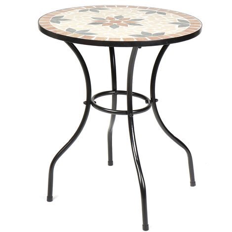 Mosaic Bistro Table 60cm x 72cm Orange Patio Garden Outdoor Kitchen Dining Room