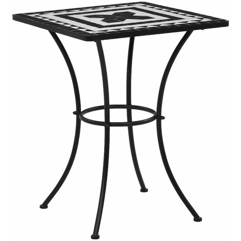 Mosaic Bistro Table Black and White 60 cm Ceramic