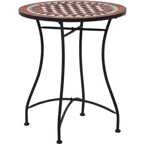 Mosaic Bistro Table Brown 60cm Ceramic