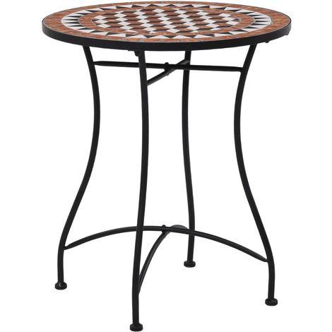 Mosaic Bistro Table Brown 60cm Ceramic