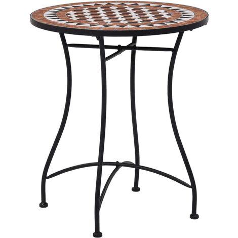 Mosaic Bistro Table Brown 60cm Ceramic - Brown