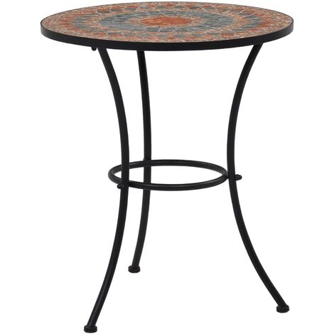 Mosaic Bistro Table Orange/Grey 60cm Ceramic