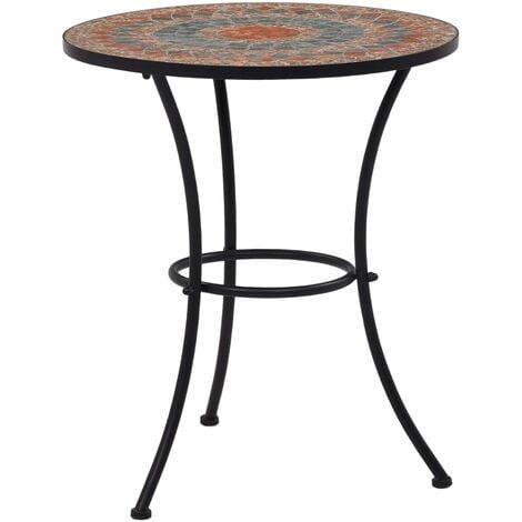 Mosaic Bistro Table Orange/Grey 60cm Ceramic - Orange