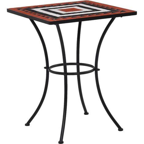 Mosaic Bistro Table Terracotta and White 60 cm Ceramic
