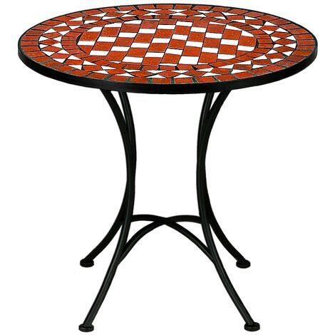 Mosaic Bistro Table with Powder Coated Steel Base Outdoor Round Garden Balcony Tables