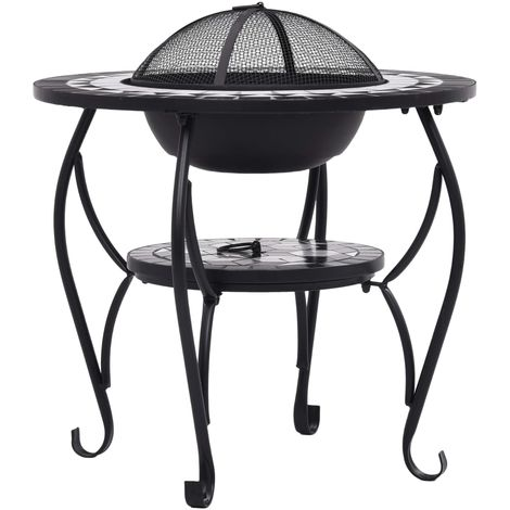 Mosaic Fire Pit Table Black and White 68 cm Ceramic