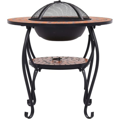 Mosaic Fire Pit Table Terracotta 68 cm Ceramic