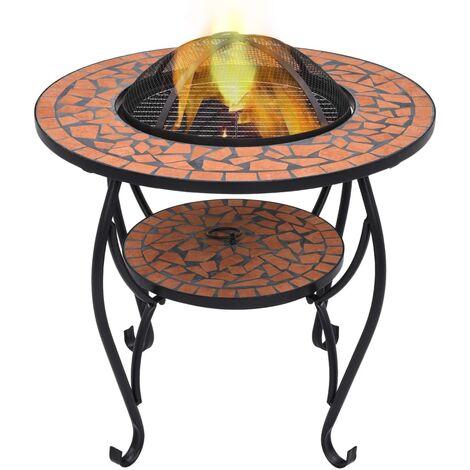 Mosaic Fire Pit Table Terracotta 68 cm Ceramic - Brown