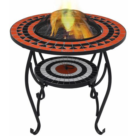 Mosaic Fire Pit Table Terracotta and White 68 cm Ceramic - Brown