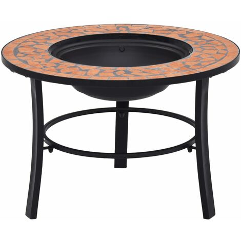 Mosaic Fire Pit Terracotta 68cm Ceramic - Brown