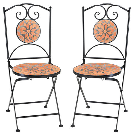 Mosaic Garden Chair Set Outdoor Balcony Patio Garden Terrace 2 Seat Bistro Cafe