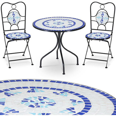 Mosaic patio set NEPTUN - Garden terrace furniture set - 1 Table & 2 foldable Chairs