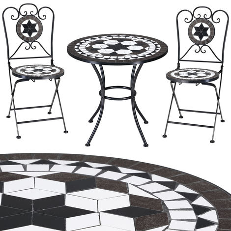 Mosaic patio set ORIENTAL - Garden furniture 1 Table & 2 Chairs - foldable
