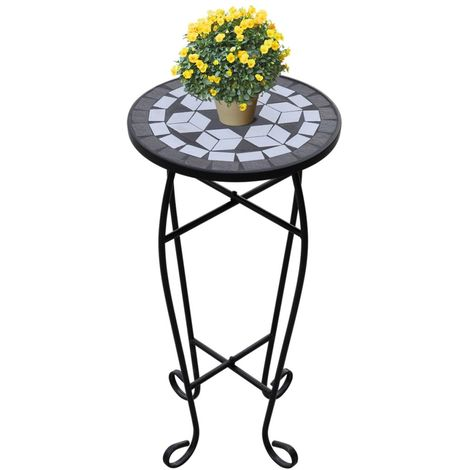 Mosaic Side Table Plant Table Black White VD26366
