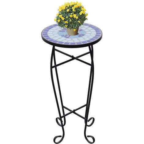Mosaic Side Table Plant Table Blue White VD26365