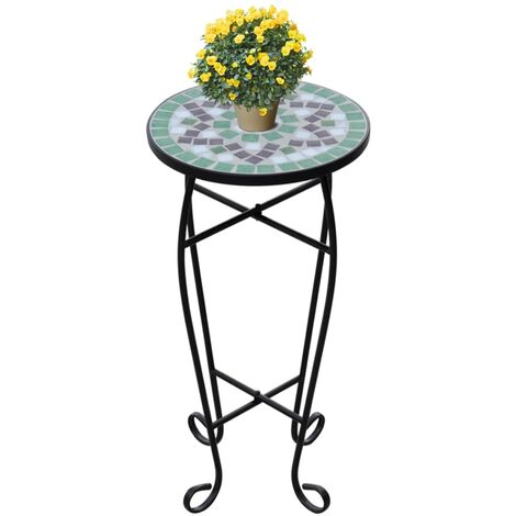 Mosaic Side Table Plant Table Green White - Green