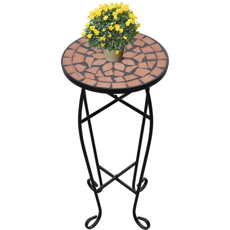 Mosaic Side Table Plant Table Terracotta