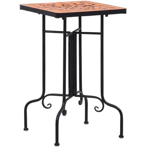 Mosaic Side Table Terracotta Ceramic - Brown