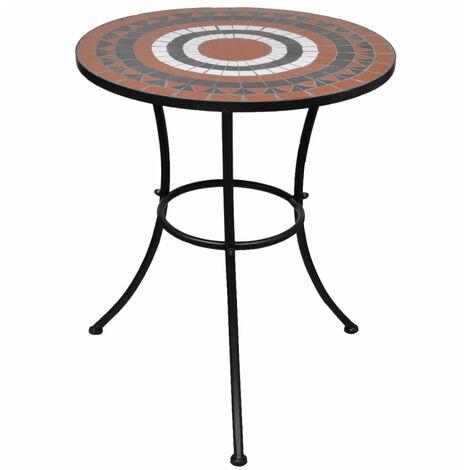 Mosaic Table 60 cm Terracotta / White