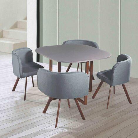 MOSAIC - Table Mosaic + 4 chaises gris