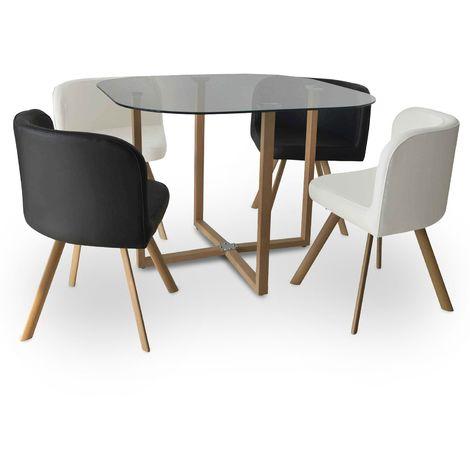 MOSAIC - Table Mosaic + 4 chaises noir et blanc