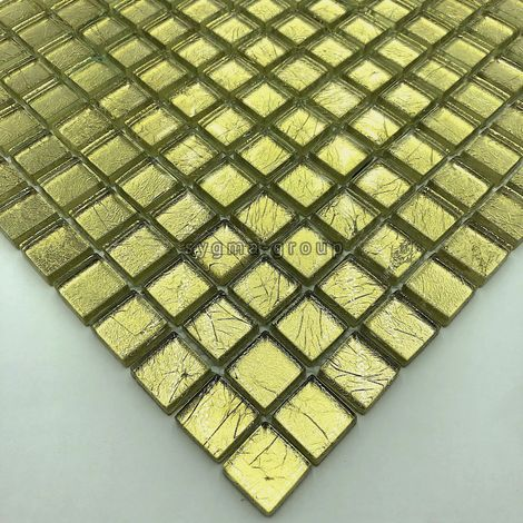 mosaic tile glass leaf gold color for wall mv-hedra-or