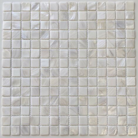 mosaic tile in mother of pearl for bathroom and shower Nacarat Blanc